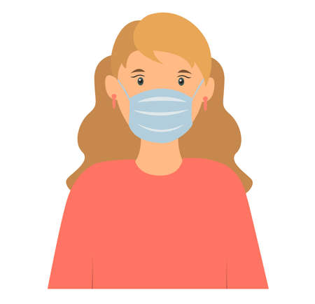 Woman wearing disposable medical surgical face mask to protect Vector illustration