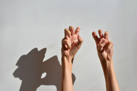 Hands with curled fingers in bright light on a white background. Hands of a teenager with a shadow on the wall