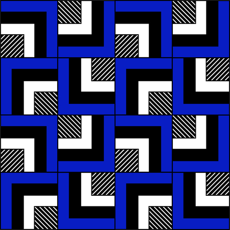 Graphic drawing of black, white, blue corners and stripes