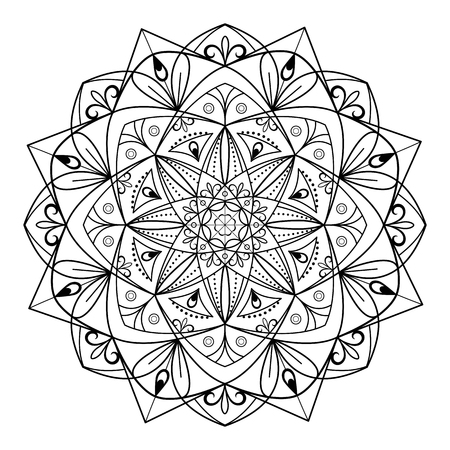 Circular pattern mandala for coloring on a white background. Vector illustration