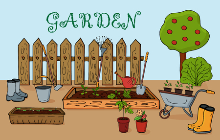 Spring gardening with seedlings and garden equipment. Illustration in flat style - Vector