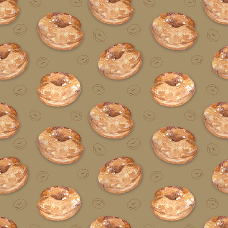 Seamless pattern with a donut pattern on a colored background