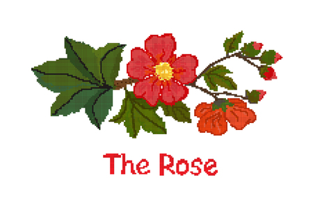 Cross-stitch flower red rose on a white background, the scheme. Vector Stock Illustratie