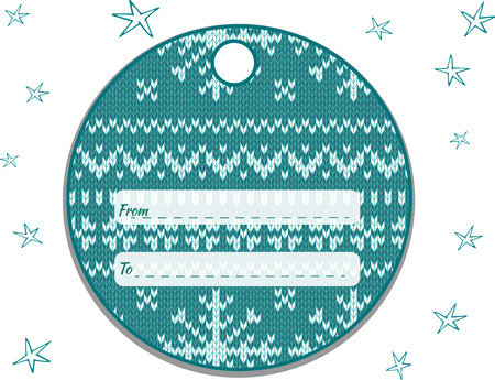 Label round with a knitted turquoise-white ornament.