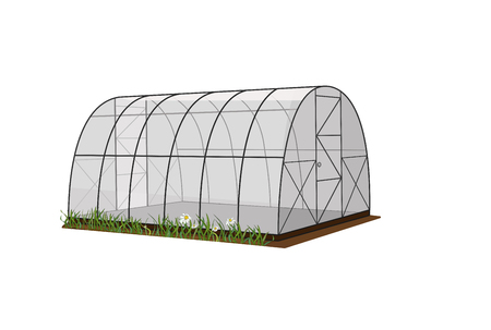 Illustration of a greenhouse, a greenhouse on a white background, for growing plants and vegetables. Vector