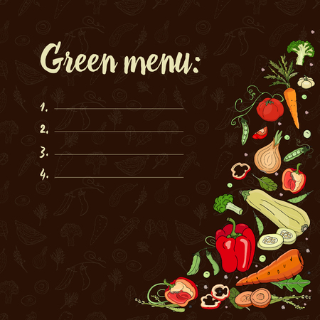 Green menu. Eco food.Set with vegetables on a dark background. Peppers, zucchini, onions, peas, broccoli, tomatoes, carrots. Vector Ilustração
