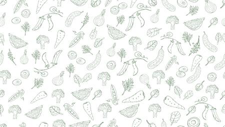 Vegetables seamless pattern, graphics on white background. Vector illustration