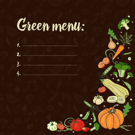 Set with vegetables on a dark background. Green menu. Eco foodPumpkin, zucchini, onions, peas, broccoli, tomatoes, carrots. Vector