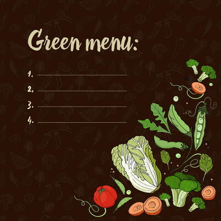 Set with vegetables on a dark background. Green menu. Eco food.Beijing cabbage, peas, broccoli, tomatoes, carrots. Vector