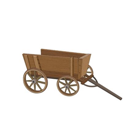 Vagón de madera sobre ruedas aislado sobre fondo blanco. Ilustración vectorial