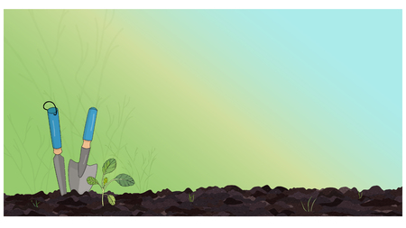 Banner with garden tools and sprout on black ground with a gradient background from green to blue. Vector illustration Illusztráció