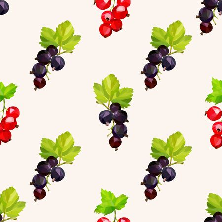 Seamless pattern with black and red currant berries on a bright background. Vektorgrafik