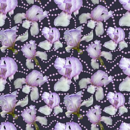 Seamless pattern. Delicate flowers of irises on a purple underlay with pearl beads