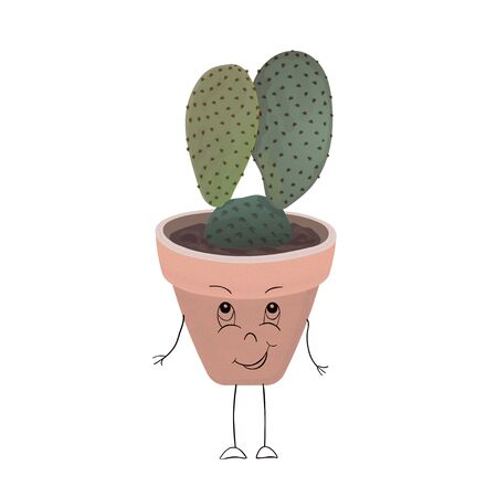Small cactus with ears of a hare in a flower pot, isolated on white background. Vector illustration