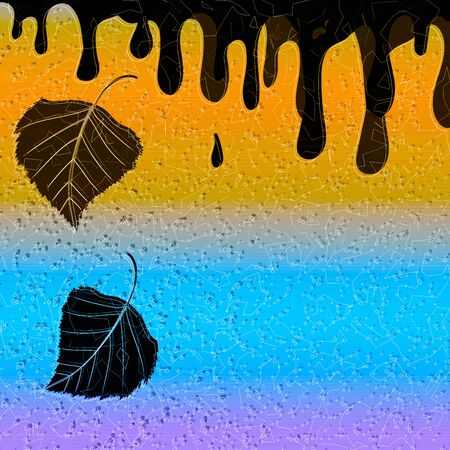 Illustration with paint drops and birch leaves on a gradient background.