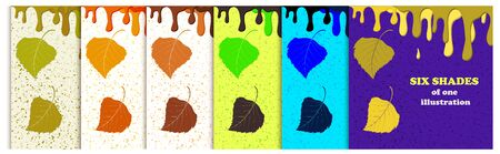 Set of cards with drips of paint and birch leaves in different color combinations. Stockfoto