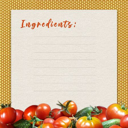 Leaflet for writing a recipe with a border of fresh tomatoes and cucumbers.