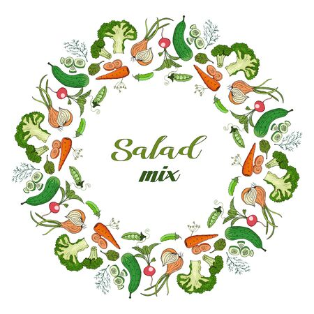 Wreath of summer vegetables for salad. Onions, cucumber, radishes, broccoli, green peas, dill and carrots.