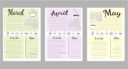 Monthly sheets of business plans and habits list to do, in the spring months of March, April, May.