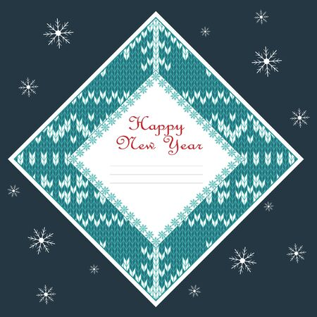 Square christmas card with irish jacquard pattern. Vector