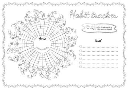 Circular checklist to achieve your goals with an openwork mandala Ilustração