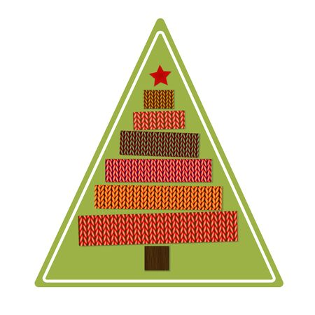 Knitted Christmas tree on a green triangular background. Sticker. Vector