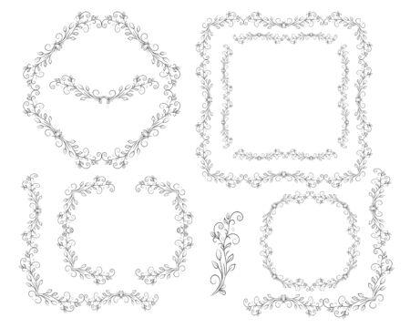 Set of openwork black and white frames and corner elements. Vector illustration