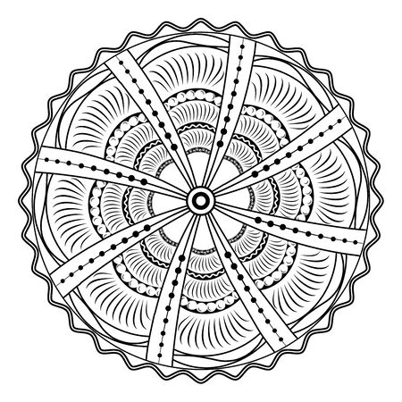 Circular mandala with rays increasing from the center. Black and white picture for coloring. Vector illustration