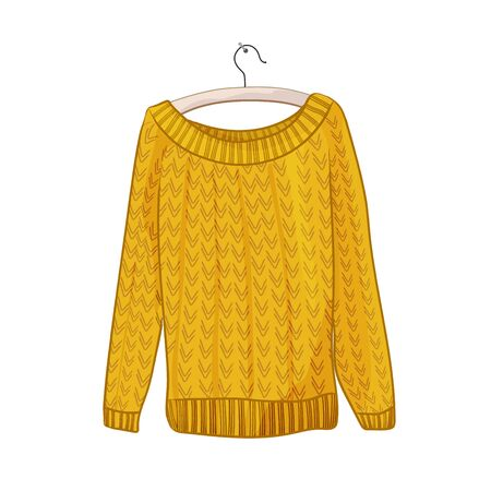 Knitted yellow female sweater on a hanger. Isolated on a white background.