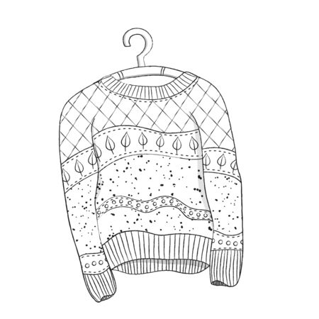 Black and white drawing of a knitted sweater on a hanger. Vector Çizim