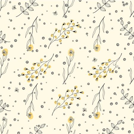 Seamless pattern with natural pattern of leaves and flowers in black and white color with yellow spots. Vector