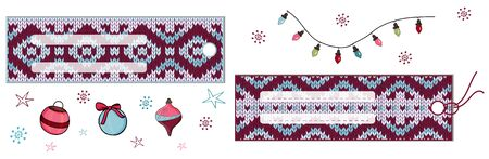Horizontal rectangular labels with jacquard knitted ornament. Vector