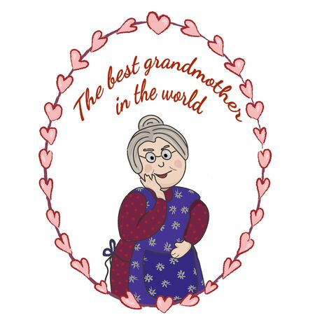 Kind grandmother in a frame of painted hearts and the inscription The best grandmother in the world. Vector