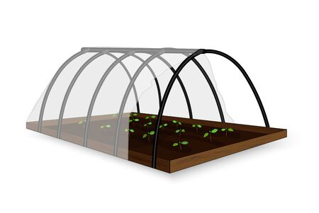 Illustration of a small greenhouse, greenhouse under the film for growing plants and vegetables on a white background. Vector
