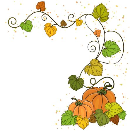 Corner element for creating postcards and banner with pumpkin and vine with autumn leaves. Vector