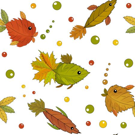 Autumn leaves and fish applique from autumn leaves. Seamless patterns. Vector