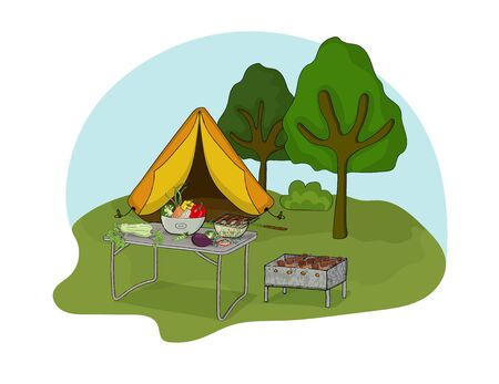 Illustration of a picnic on the nature with a tent, barbecue, barbecue and vegetables on a camping table. Vector