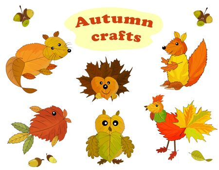 Animal characters made from autumn leaves. Autumn applique. Vector