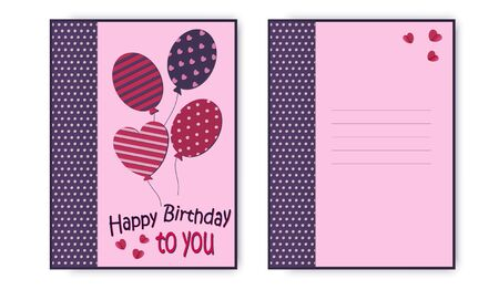 Happy birthday greeting card in pink colors, with balloons and an inscription. Vector