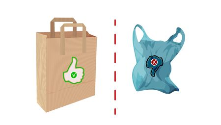 Paper and cellophane bags. Environmental and Waste Management Issues. Vector Illusztráció