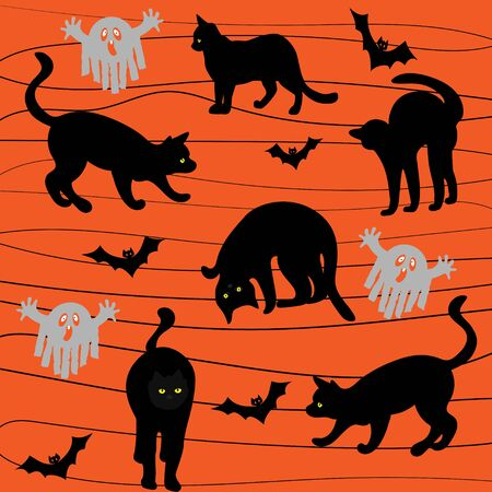 Silhouettes of black cats in different poses, bats and ghosts on an orange background. Halloween. Vector Çizim