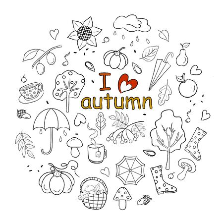 A set of pictures on an autumn theme in sketches and the inscription I love autumn. Vector