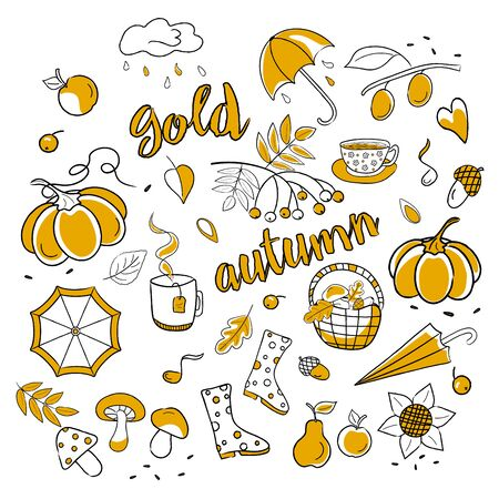 Set of isolated pictures on an autumn theme with a yellow fill and the inscription golden autumn. Vector