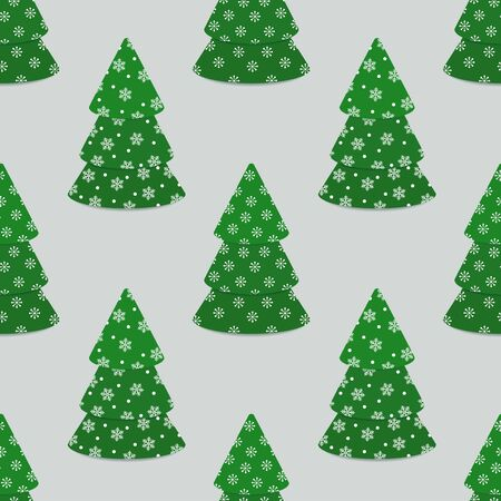 Seamless pattern with Christmas trees decorated with snowflakes. Vector