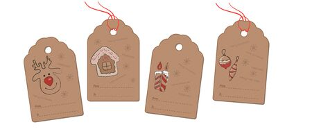Christmas and New Year greeting tags with a pencil drawing of a deer, house, candles and Christmas decorations.