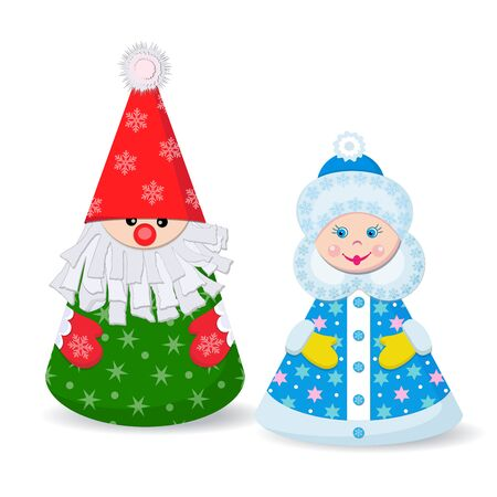 Ded Moroz and Snegurochka. Paper toy. Vector Illusztráció