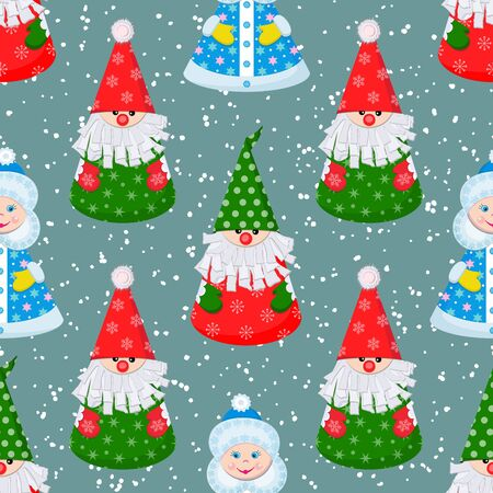 New Year, Christmas seamless pattern with paper doll Santa Claus and Snow Maiden on a blue background with snowflakes. Vector