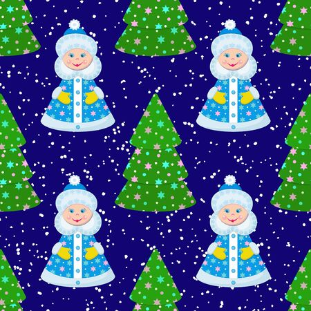 New Year Christmas. Seamless pattern with Snow Maiden and Christmas trees on a blue background with snow. Vector