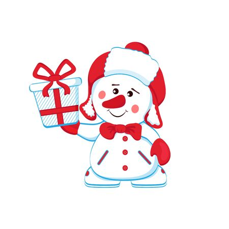 Cheerful snowman in a warm hat with a gift. Separate on a white background. Vector Ilustração