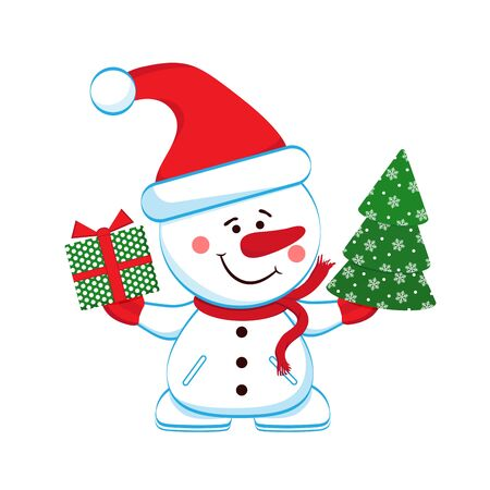 Merry snowman with a gift and Christmas tree. Separately on a white background. Vector